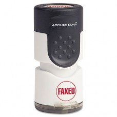 """Accustamp Pre-Inked Round Stamp With Microban, Faxed, 5/8"""" Dia, Red"""