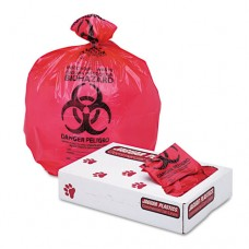 """Health Care """"biohazard"""" Printed Liners, 1.3mil, 24 X 23, Red, 500/carton"""