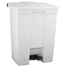 Indoor Utility Step-On Waste Container, Rectangular, Plastic, 18gal, White