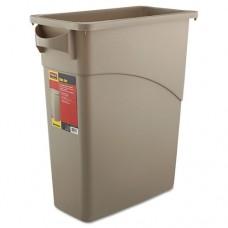 Slim Jim Waste Receptacle, Rectangular, Plastic, 15.875gal, Beige