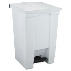 Indoor Utility Step-On Waste Container, Square, Plastic, 12gal, White