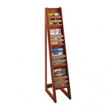 Bamboo Magazine/pamphlet Floor Display, 10w X 18-1/4d X 56-1/2h, Cherry