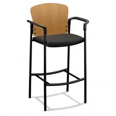 Pagoda 4090 Series Stool, Harvest Wood Back/gray Fabric Seat