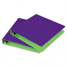 "Fashion Two-Tone Round Ring View Binder, 1-1/2"" Capacity, Purple/lime, 2/pk"