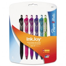 Inkjoy 300 Rt Fashion-Wrap Retractable Ballpoint Pen, 1mm, Assorted, 6/pack