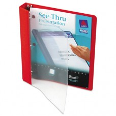 "See-Thru View Binder W/round Rings, 11 X 8 1/2, 1"" Cap, Red"