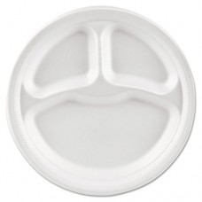 "Basix Foam Dinnerware, Plate, 9"" Dia, 3 Compartment, White, 500/carton"