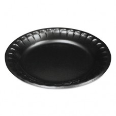 "Laminated Foam Dinnerware, Plate, 6"", Black, 125/pack"
