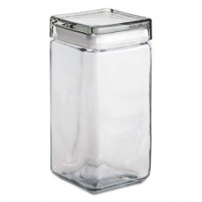 Stackable Square Glass Jar, 64 Oz, Clear, Glass Lid, 4/carton