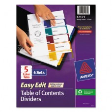 Ready Index Customizable Table Of Contents, Asst Dividers, 5-Tab, Ltr, 6 Sets