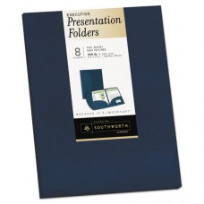 Two-Pocket Presentation Folders, 8 1/2 X 11, Navy, 8/pack