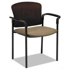 Pagoda 4091 Series Guest Chair, Mahogany Wood Back/taupe Fabric Seat, 2/carton