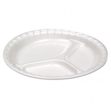 "Non-Laminated Foam Dinnerware, 3-Comp, 10 1/4"" Dia, White, 540/carton"