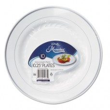 "Masterpiece Plastic Dinnerware, White/silver, 10 1/4"", 10/pack"