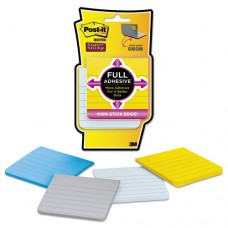 Full Adhesive Notes, 3 X 3, Ruled, New York Colors, 4/pack