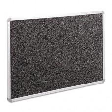 Recycled Rubber-Tak Tackboard, 48 X 36, Black W/euro Aluminum Frame