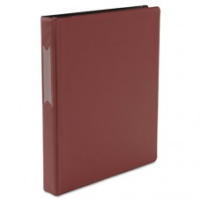 "Economy Non-View Round Ring Binder With Label Holder, 1"" Capacity, Burgundy"