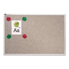 Vinyl Tack Bulletin Board, 12 Ft X 4 Ft, Gray Surface, Silver Aluminum Frame