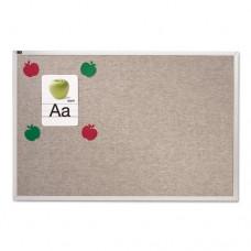 Vinyl Tack Bulletin Board, 10 Ft X 4 Ft, Gray Surface, Silver Aluminum Frame