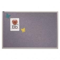 Vinyl Tack Bulletin Board, 48 X 48, Blue Surface, Silver Aluminum Frame