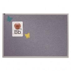 Vinyl Tack Bulletin Board, 72 X 48, Blue Surface, Silver Aluminum Frame