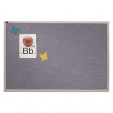 Vinyl Tack Bulletin Board, 12 Ft X 4 Ft, Blue Surface, Silver Aluminum Frame