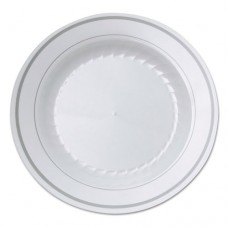 Masterpiece Plastic Plates, 6 In., White W/silver Accents, Round, 10/pack