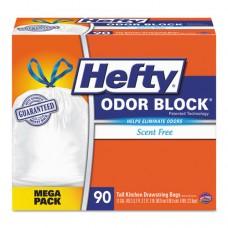 Odor Block Tall-Kitchen Drawstring Bags, 13gal, White, 90/box