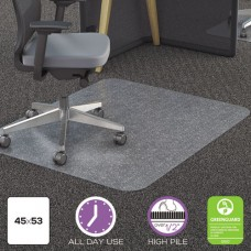 Clear Polycarbonate All Day Use Chair Mat For All Pile Carpet, 45 X 53