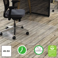 Clear Polycarbonate All Day Use Chair Mat For Hard Floor, 45 X 53