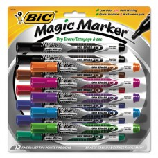 Low Odor And Bold Writing Pen Style Dry Erase Marker, Bullet Tip, Assorted, 12