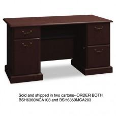 "60""w Double Ped Desk (b/b/f, F/f) Box 1 Of 2 Syndicate, Mocha Cherry"