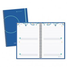 Two Days Per Page Paisley Planning Notebook, 6 X 9, Fashionable Blue Cover, 2017
