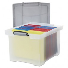 Portable File Tote W/locking Handle Storage Box, Letter/legal, Clear
