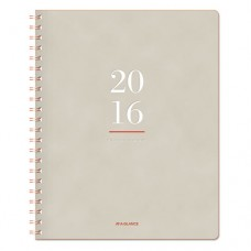 Collection Twinwire-Bound Monthly Planner, 8 3/8 X 11, Tan/red, 2016