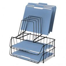 Wire Double Tray W/step File, 8 Comp, Steel, 13 7/8 X 10 1/8 X 14, Black