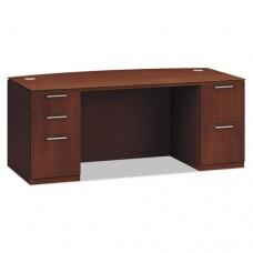 Arrive Bow Front Double Pedestal Veneer Desk, 72w X 36d X 29-1/2h, Shaker Cherry