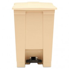 Indoor Utility Step-On Waste Container, Square, Plastic, 12gal, Beige