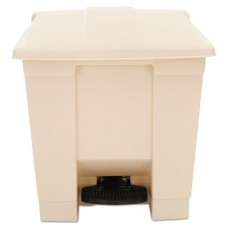 Indoor Utility Step-On Waste Container, Square, Plastic, 8gal, Beige