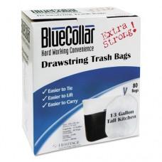 Drawstring Trash Bags, 13gal, 0.8mil, 24 X 28, White, 80/box, 6 Boxes/carton