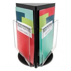 Countertop Revolving Literature Rack, 3 Compartments, 10 1/4w X 12 3/4h, Black