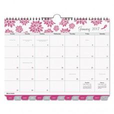Pink Ribbon Tabbed Wall Calendar, 11 X 8 1/2, 2017