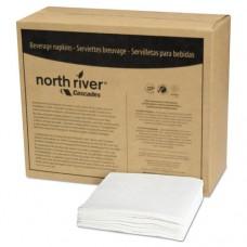 North River Beverage Napkins, 1 Ply, 8 1/2 X 8 1/2, White, 1000/pk, 4000/crtn