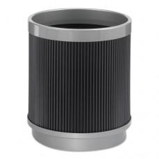 At-Your-Disposal Wastebasket, Round, Polyethylene, 5gal, Black/chrome
