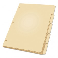 Three-Hole Punched Index For Binder, 5-Tab, Manila, 100/box