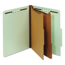 Pressboard Classification Folders, Six Fasteners, 2/5 Tab, Letter, Green, 10/box