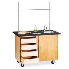 Mobile Demonstration Table, Rectangular, 48w X 28d X 36h, Black