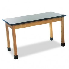 Science Table, Rectangular, 48w X 24d X 30h, Black/oak