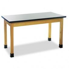 Science Table, Rectangular, 60w X 24d X 30h, Black/oak