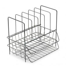 Wire Double Tray W/file Sorter, 7 Sect, Steel, 13 3/4 X 10 1/8 X 12 1/2, Black